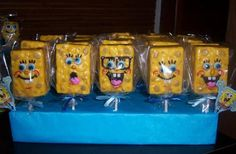 Spongebob squarepants Rice Krispie treat favors on Etsy, $15.00