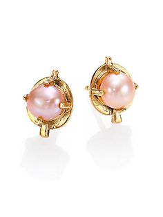 4ad0834ae17a Aesa - Muse 6MM Pink Freshwater Pearl Arrow Stud Earrings
