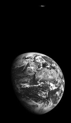 View of Earth and Mars from Lunar Orbit | NASA - When the spacecraft's LROC camera captured this image, Earth was about 376,687 kilometers (234,062 miles) away from LRO and Mars was 112.5 million kilometers away. - Image Credit: NASA/Goddard/Arizona State University - via Friends of NASA