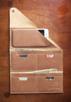 Leather Wrap Wallet The Constance in Champagne by RobbieMoto