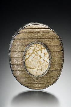 haystack retreat eggshell wood brooch by mammetal, via Flickr