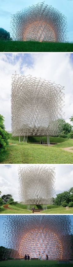"""Forty-four tons of aluminum was just transported and installed at London's Kew Gardens, a beehive-inspired structure produced by the artist Wolfgang Buttress in partnership with designer and engineer Tristan Simmonds. """"The Hive"""" was originally built as a centerpiece for the UK Pavilion at the Milan Expo 2015 where it won the gold award for architecture and landscape. The installation both aesthetically and symbolically represents its namesake, aiming to demonstrate to visitors the importance…"""