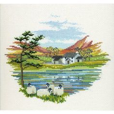"""Lakeside Farm Cross Stitch Kit from Derwentwater Designs """"Lakeside Farm Cross Stitch Kit by Derwentwater Designs"""", """"Charming and free autumn/winter cros Cross Stitch House, Counted Cross Stitch Kits, Cross Stitch Charts, Cross Stitch Designs, Cross Stitch Patterns, Cross Stitching, Cross Stitch Embroidery, Embroidery Patterns, Cross Stitch Landscape"""