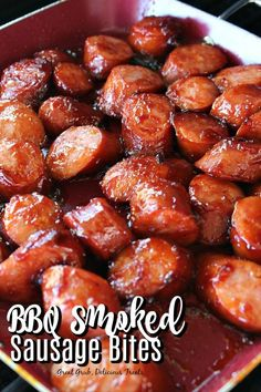 Smoked Sausage Bites BBQ Smoked Sausage Bites are grilled and only made only using two ingredients, barbecue sauce and sausage.BBQ Smoked Sausage Bites are grilled and only made only using two ingredients, barbecue sauce and sausage. Bbq Sausage Recipe, Smoked Sausage Recipes, Sausage Appetizers, Finger Food Appetizers, Appetizer Recipes, Grilled Sausage, Crockpot Keilbasa Recipes, Crock Pot Sausage, Kielbasa Crockpot