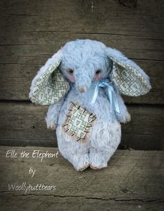 SALE Elephant Bear Ella 5 inches tall handmade door Woollybuttbears