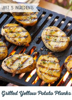 A dish the whole family can get behind! These easy Grilled Potato Planks are mad… A dish the whole family can get behind! These easy Grilled Potato Planks are made with creamy yellow potatoes, garlic and rosemary. Just toss them on the grill and enjoy Grilled Chicken Recipes, Grilled Vegetables, Veggie Recipes, Healthy Recipes, Grilled Meat, Healthy Eats, Bbq Potatoes, Yellow Potatoes, Potatoes On The Grill