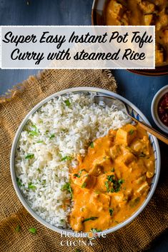 This easy to make Vegan tofu curry with rice is perfect for weeknight dinner! Making it in the Instant Pot is my favorite way to make it! Tofu Recipes, Side Recipes, Curry Recipes, Dairy Free Recipes, Indian Food Recipes, Vegetarian Recipes, Cooking Recipes, Healthy Recipes, Ethnic Recipes