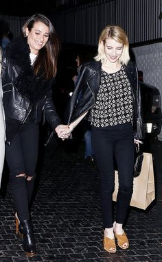 Emma Roberts adds edge to her outfit with a leather jacket.