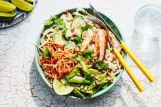 "This simple noodle bowl comes together quickly, thanks to a delicious and easy make-ahead <a href=""http://www.epicurious.com/recipes/food/views/kid-friendly-peanut-sauce"">peanut sauce</a>. The combination of roast chicken, carrots, snap peas, and cucumbers offers a refreshing yet satisfying dinner, but feel free to use whatever vegetables you'd like. Roast the chicken ahead of time to get dinner on the table even faster."