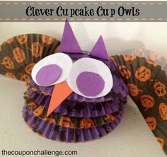 Clever Cupcake Cup Owls {Dollar Store Halloween Craft}