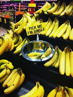 Pick me. Bananas at the supermarket.