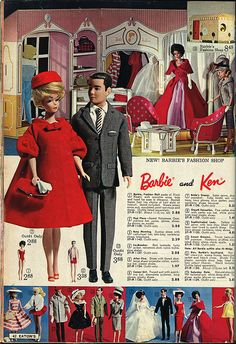 This is what I want my family to wear for pictures!!!!lolol    Barbie and Ken - 1963 Eaton's Christmas Catalogue