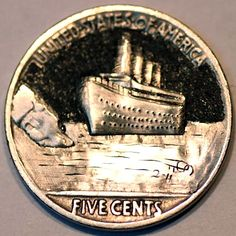 STEINAR FOSBACK - TITANIC - BUFFALO NICKEL REVERSE CARVING Hobo Nickel, Coin Collecting, Titanic, Coins, Carving, Buffalo, Classic, Coin Art, Derby