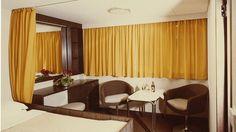 Keltaisella koristeltu Ilmatar-laivan hytti, 1964 Copyright: Silja Line.