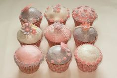 Vintage cupcakes in a pink and purple colour scheme