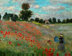 Claude Monet Red Poppies at Argenteuil. Oil on canvas. In the countryside, a vivid splash of poppies seems to move in a gentle breeze. Monet has made the red. Monet Paintings, Impressionist Paintings, Landscape Paintings, Abstract Paintings, Monet Poster, Wild Poppies, Oil Painting Reproductions, Western Art, Fine Art Prints