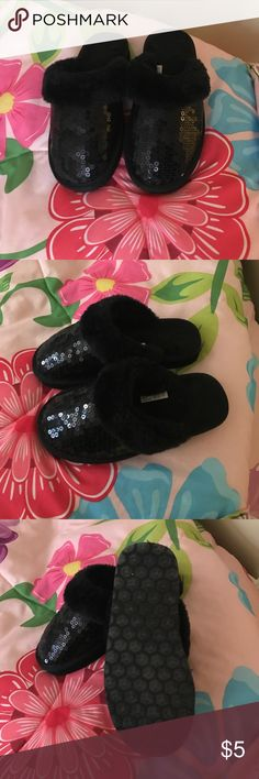 Sequin slippers Sequin kids slippers worn a couple of times. Size 12 good condition Shoes Slippers