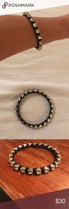 Silver rhinestone bracelet wrapped/black leather Fun black leather wrapped rhinestone bracelet Stella & Dot Jewelry Bracelets