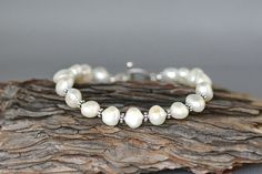 White Pearl Bracelet Bridal Jewelry Bali by thetimeoutcollection