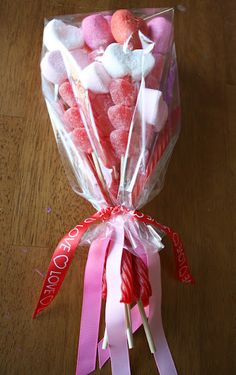 Idea for wraping your candy! Cute for a valentines carepackage.