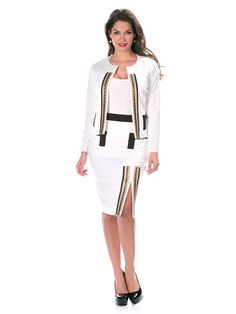 Veste galon or - CpourL Dresses For Work, Couture, Fashion, Straight Skirt, Spring Summer 2016, Jacket, White People, Moda, Fashion Styles