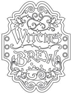 Witches Brew Apothecary Label Urban Threads Unique and Awesome Embroidery Designs Paper Embroidery, Embroidery Patterns, Embroidery Stitches, Pyrography Patterns, Pyrography Ideas, Halloween Coloring Pages, Urban Threads, Wood Burning Patterns, Witches Brew