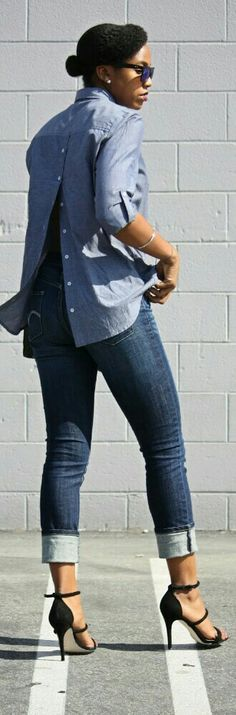 Chambray Sexy Back Shirt # Trends Of Summer Apparel Sexy Back Back Shirt Chambray Back Shirt Must-Have Back Shirt 2015 Back Shirt Where To Get Back Shirt How To Style Denim Fashion, Womens Fashion, Fashion Trends, Brown Fashion, Style Fashion, Ohh Couture, Casual Outfits, Cute Outfits, Casual Chic