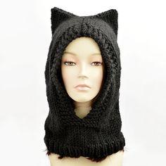 Cat Ear Beanie Hood Hat Black Cat Ear Hat Balaclava by StopFrost Crochet Hood, Hat Crochet, Crochet Summer Tops, Knitted Cat, Hooded Scarf, Cat Hat, Balaclava, Beanie, Hats