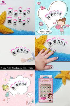 [Visit to Buy] 24PCS Cartoon Black Cat Kids False Nail Tips Cute Full Cover Short Fake Nails with Glue High Quality #Advertisement