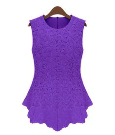 Casual Women Candy Plus Size Sleeveless Embroidery Chiffon Lace Vest