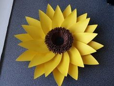 how to make a paper flower tutorial (sunflower) paper crafts - YouTube