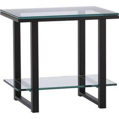 "Side Table. 17""Wx23.5""Dx21.75""H  Welded steel tube, Soft black powdercoat finish  $199"