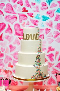 Could this be a funfetti wedding cake? Unreal.