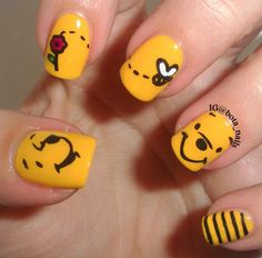 Winnie the Pooh Nails stamped nails nail art