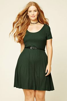Forever 21+ - A ribbed knit skater dress featuring a scoop neck and back, cap…