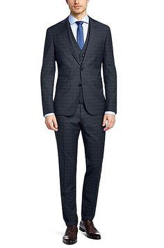 Extra Slim-Fit Anzug mit Weste ´Reyno/Wave WE` aus Schurwolle, Dunkelblau