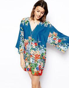 ASOS Kimono Shift Dress In Pretty Floral Print