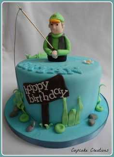 Fishing theme birthday cake, chocolate chip chip sponge with buttercream filling. www.facebook.com/cassandrahickling.cupcakecreations