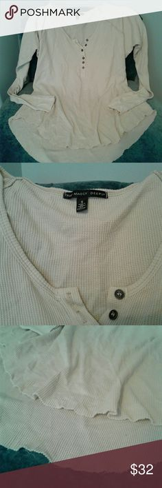 URBAN OUTFITTTERS  Truly Madly Deeply   thermal Women's pre loved Truly Madly Deeply from Urban Outfitters cream oversized comfy long sleeve thermal with 6 buttons on front neckline, distressed on bottom size Small. Thanks for looking!!! Truly Madly Deeply Tops