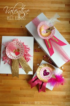 DIY Valentine prize ribbons: glitter, sequins, feathers + tulle  {Handcrafted Parties}