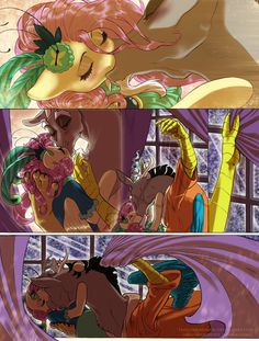 #1417678 - artist:thecuriousfool, blushing, clothes, comic:the night has just begun, discord, discoshy, female, fluttershy, kissing, make new friends but keep discord, male, safe, shipping, straight - Derpibooru - My Little Pony: Friendship is Magic Imageboard
