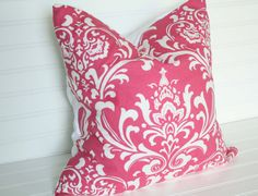 Pink damask Pillow Cover