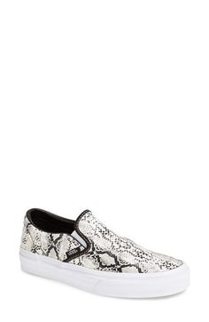 Vans 'Classic' Slip-On Sneaker (Women) Leather Snake Grey Size 7 M - $55 on Vein - getvein.com