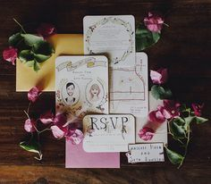Adore this illustrated floral invitation