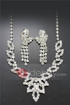 Fabulous Alloy with Rhinestone Wedding Jewelry Set