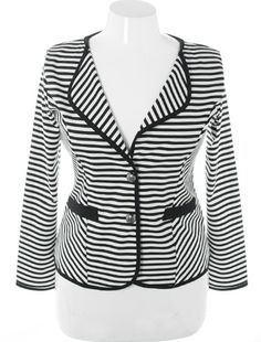Plus Size City Girl Stripe Blazer White Jacket Stylish Plus, Trendy Plus Size, Plus Size Women, Plus Size Blazer, Model Look, Striped Blazer, Clubwear, Blazer Jacket, Plus Size Outfits