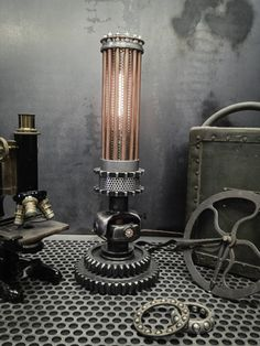 Steampunk lighting, steampunk furniture, industrial lighting, machine age lighting 🧜‍♀️🐋⚙️Home Decor Project Ideas AND Tutorials🧜‍♀️🐋⚙️ Industrial Chair, Vintage Industrial Furniture, Industrial Interiors, Rustic Industrial, Industrial Design, Kitchen Industrial, Industrial Office, Industrial Closet, Industrial Bookshelf