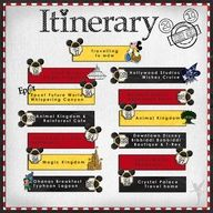 itinerary, disney scrapbook layout - great layout to cover activities on any vacation - just change the colors/embellishments.