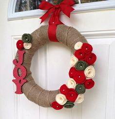 Joy Burlap Christmas Wreath Holiday Wreath by TheVioletteBloom