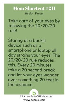 Health and Fitness Shortcuts Reduce eye strain with the rule. Get your daily source of awesome life hacks and parenting tips! CLICK NOW to discover more Mom Hacks. Good Health Tips, Health And Fitness Tips, Healthy Tips, Health And Wellness, Fitness Hacks, Mental Health, Healthy Food, Simple Life Hacks, Useful Life Hacks